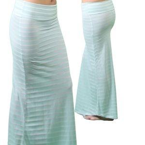 New Light Mint Striped Maxi Skirt